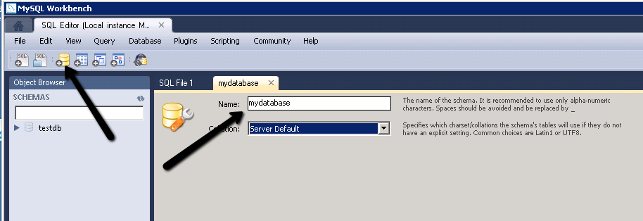 my sql workbench how to create a database