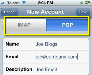 how to change imap to pop on iphone