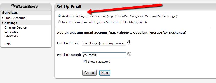 how to set up optus email