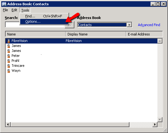 How To Change Microsoft Outlook Address Book Options - Webvault Help